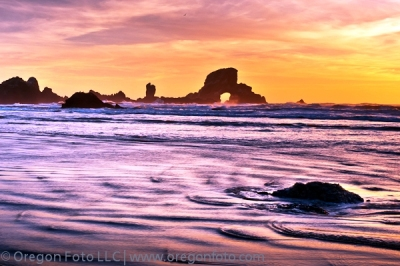 sea lion arch rock sunset